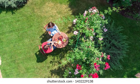 Young couple enjoying food and wine in beautiful roses garden on romantic date, aerial top view from above of man and woman eating and drinking together outdoors in park
