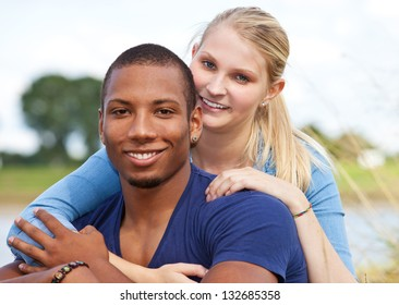 Young couple enjoys time outside.