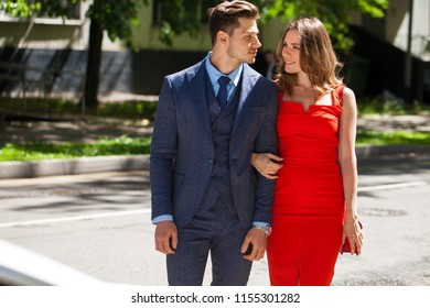 Young couple or european woman and man on city street, lifestyle and togetherness concept, romance and love