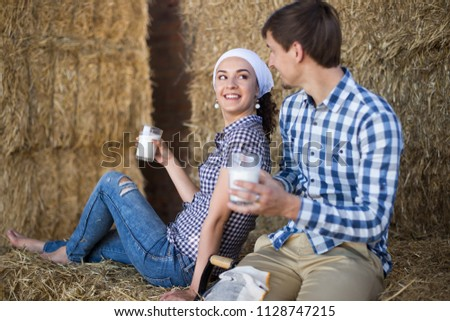 Home milking mature couple
