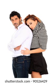 young couple fashion portrait isolated on a white background