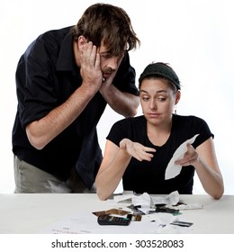 A young couple fighting about finances and expenses