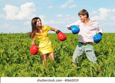 Young couple in fighting because they at odds