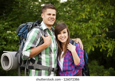 Young couple in forest