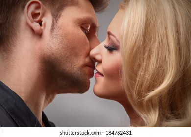 young couple getting ready to kiss