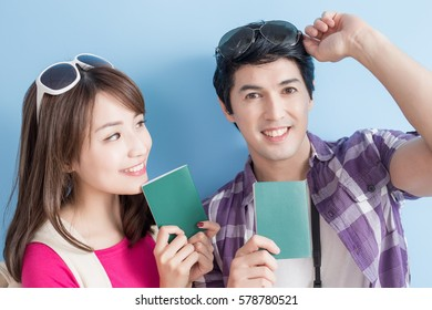 young couple go to travel and take passport