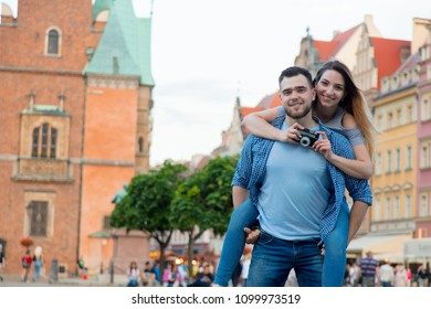 Young couple hangging on the street. Wroclaw, Poland