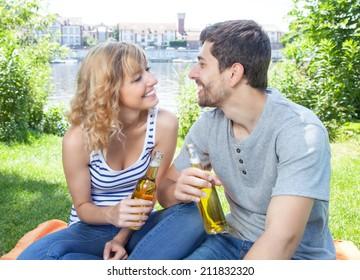 Young couple has a picnic
