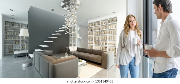 Young couple having a coffee in a modern luxurious interior