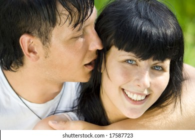 a young couple having fun in the park