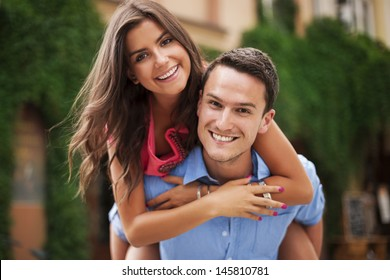 Young couple having a great time together