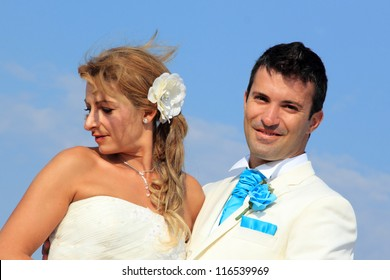 Young couple having their weeding on the beach