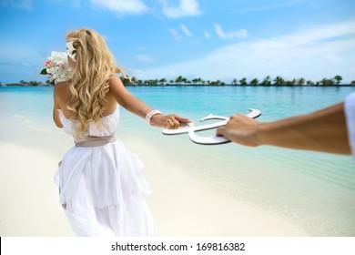 Young couple honeymoon on Maldives