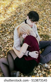 Young couple hugging each other