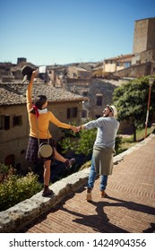 Young couple at the Italy - Happy man and woman visiting Toscana.