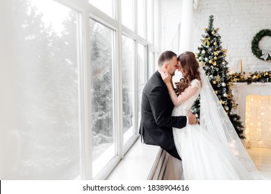 Young couple in love bride and groom posing in studio on background decorated with Christmas tree in their wedding day at Christmas near the large panoramic window.