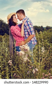 Young couple in love in the countryside