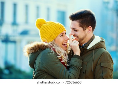 Young couple in love enjoying autumn day together.
