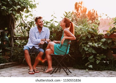 Young couple in love enjoying on a terrace