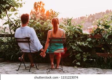 Young couple in love enjoying their honeymoon