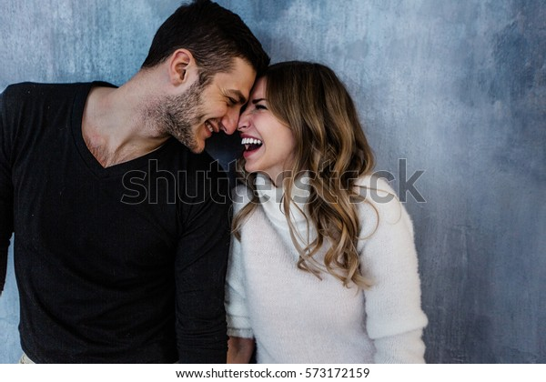 Young couple in love have fun i on new years eve or st valentines day