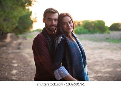 Young couple in love, man and girl in outdoor