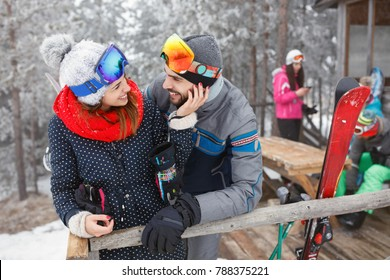 Young couple in love on winter vacation