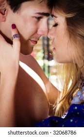 young couple in love, outdoor shot
