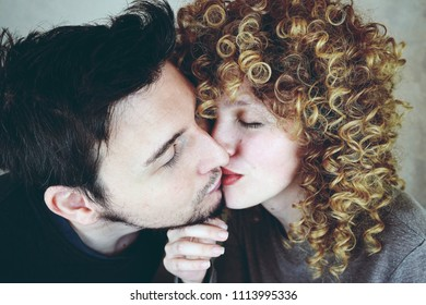 Young couple in love in a studio