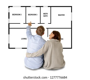 Young couple in love thinking about buying and planning their first home with great interior design dreaming of future together as family in First time buyers Owners Mortgage and real estate concept.