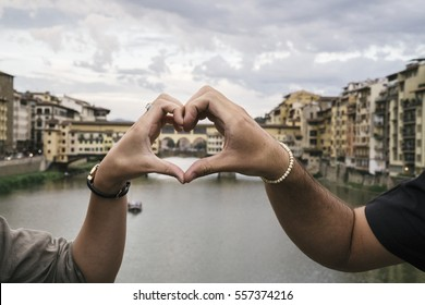 Young couple in love visiting Florence in Italy for Tourism