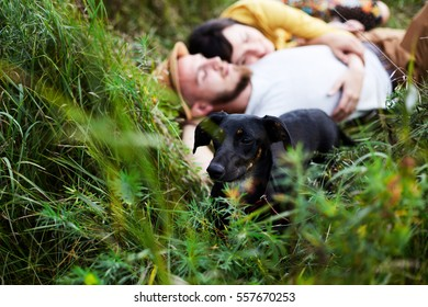 Young couple lying in the grass