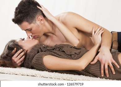 Young couple making love