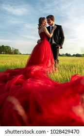 A young couple. A man in a suit, a woman in a red expensive long dress, is standing in the field. Sunset. Toning.