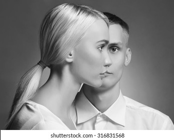 young couple man and woman in one face.beautiful boy and girl together