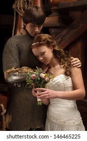 Young couple married,looking alike Romeo and Juliet