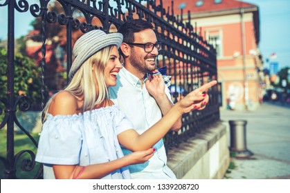 Young couple at the meeting. Romantic couple take a rest after shopping. Love, dating, romance