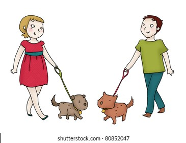 A young couple meets with their dogs. Digital illustration isolated on white background