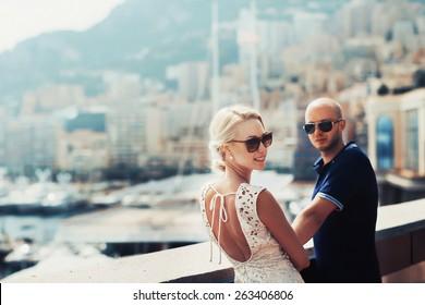 young couple in Monaco, Monte carlo, in love