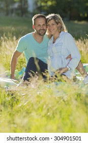 Young couple on blanket, meadow, pregnant young woman