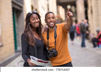 young couple on holiday sightseeing