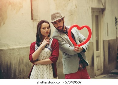 Young couple on St. Valentine's Day