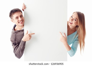 Young couple on a white background