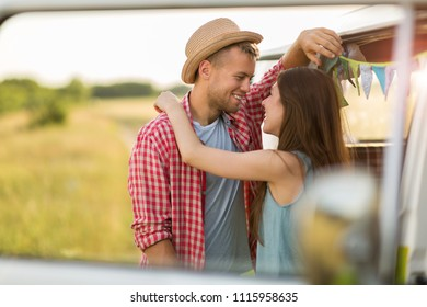 Young couple out on a road trip