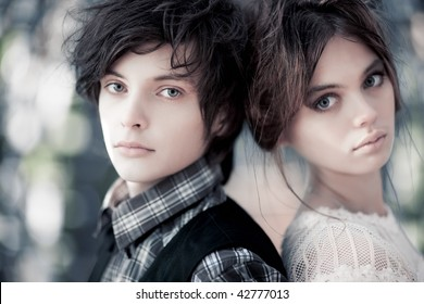 Young couple portrait. Focus on male face.