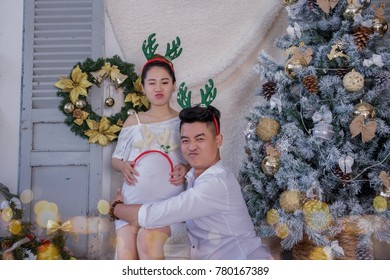 The young couple pregnant in christmas holiday.