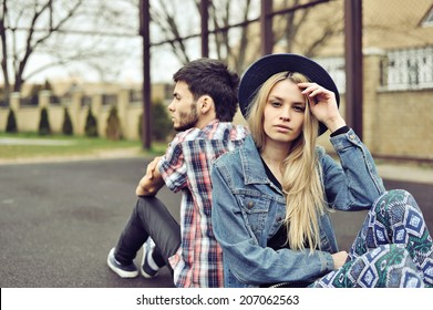 Young couple with relationship difficulties, retro filter