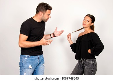young couple relationship fight and yelling isolated in studio, beautiful male and female model