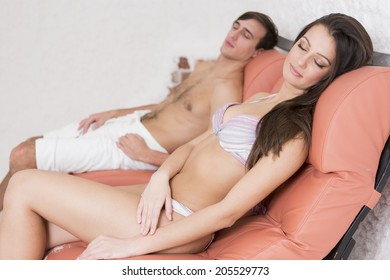 Young couple relaxing in the salt room