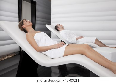 Young Couple Relaxing tn the Spa Zone